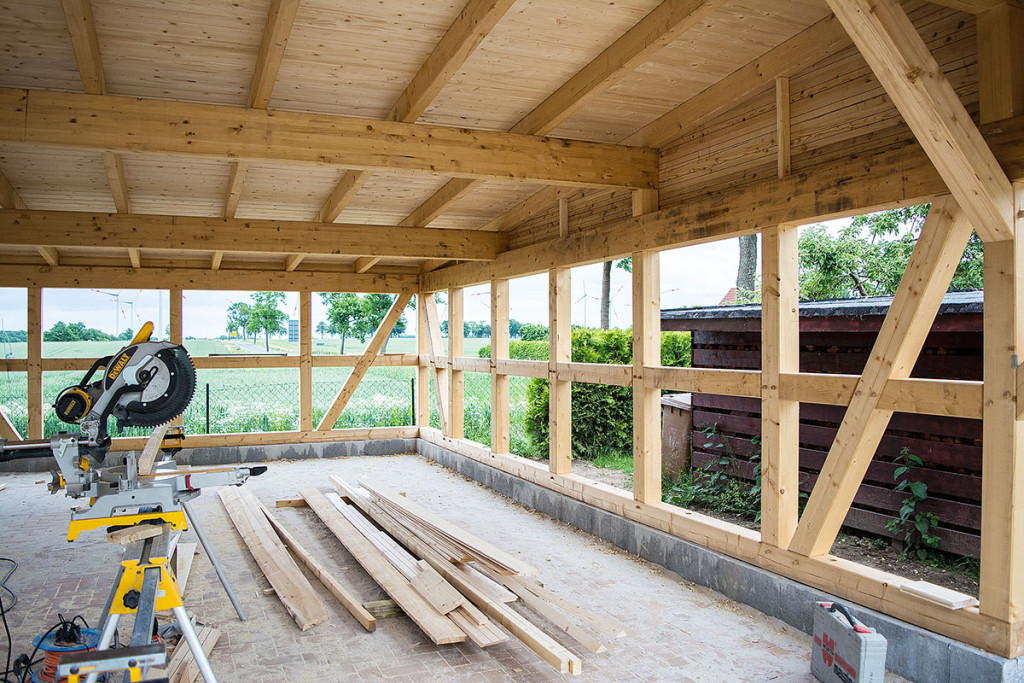 Neubau eines Doppelcarport als Fachwerkkonstrution in Neetzow bei Anklam
